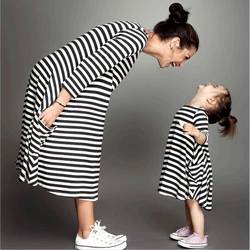 2017 family matching mother daughter dresses clothes striped mom and daughter dress kids parent child outfits.jpg 250x250