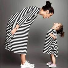 Mommy and me family matching mother daughter dresses clothes striped mom dress