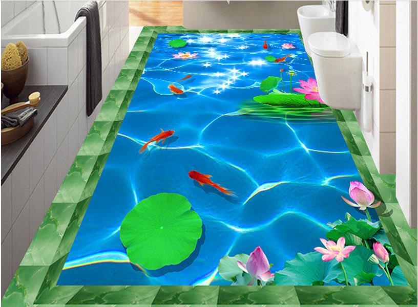 ФОТО 3d flooring self-adhesive wallpaper custom stereoscopic 3d waterproof wallpaper Lotus pond carp 3d floor tiles for living room