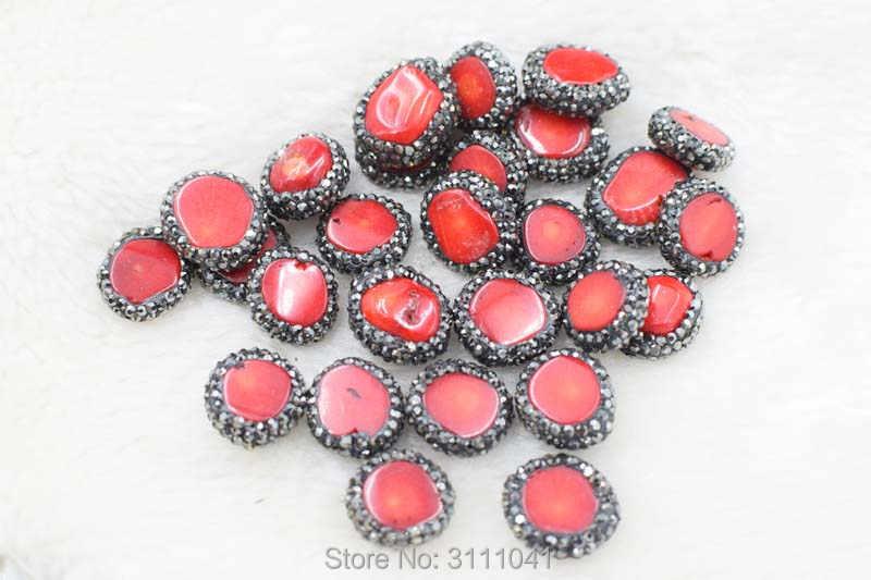 赤サンゴ用フラットペンダントdiyのジュエリーを作るfppj卸売ビーズ自然宝石石サンゴ