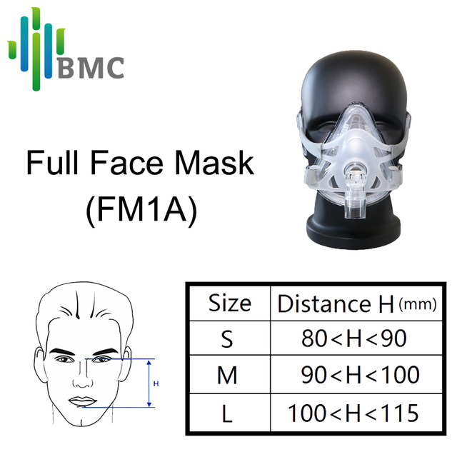 BMC FM1A Full Face Mask For CPAP Bipap Machine COPD Snoring And Sleep Therapy Size SML Connect Face And Hose With Headgear Clips 1