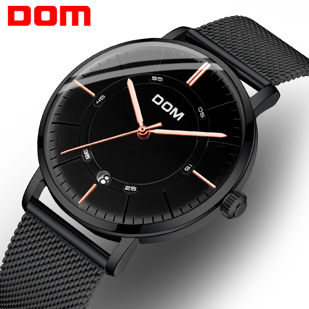 Luxury DOM Watches Men Mechanical Watch Casual Leather Steel Band Montre Homme Automatic Mechanical Wristwatches Zegarek Meski