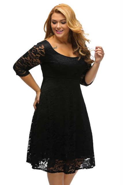 30206d3594c placeholder Black White Floral Lace Sleeved Fit and Flare Curvy Girls Dress  Knee Length Plus Size XXXL