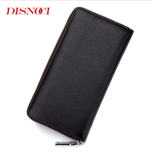DISNOCI New Long Zipper Men's Clutch Wallet Genuine Leather Men Wallets Large Capacity Men's Purses Card Holder Black/Brown