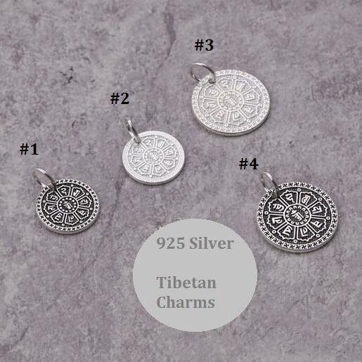 Handmade 100% 925 Silver Tibetan Six Words Proverb Charms Sterling Tibetan Klachakra Pendant OM Mani Padme Hum Charms