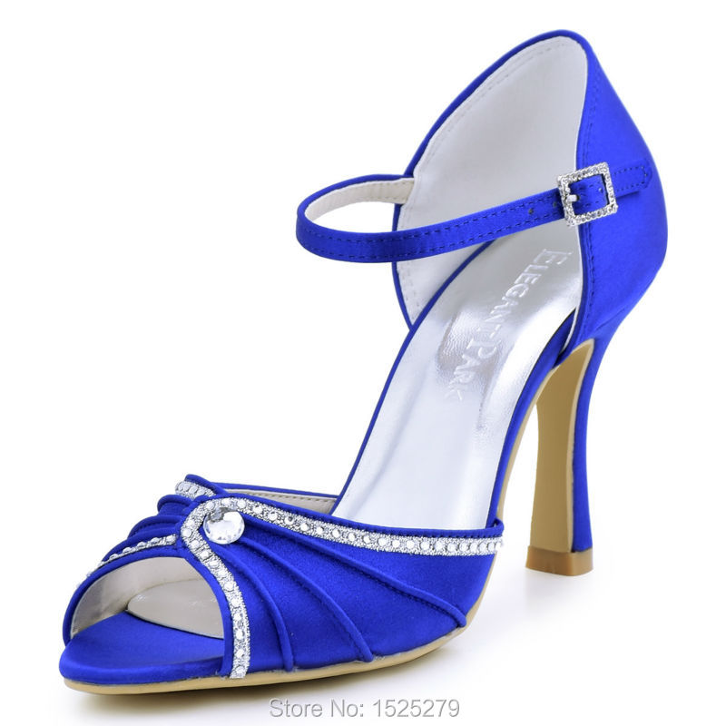EL-033 Teal Navy Blue Women Bride Bridesmaids Open Toe Bridal Party Sandal Rhinestones High Heels Satin Wedding Evening Shoes