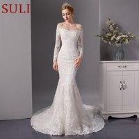 SL 6088 новый с длинным рукавом Русалка свадебное платье 2019 свадебное платье невесты Полный бусины.