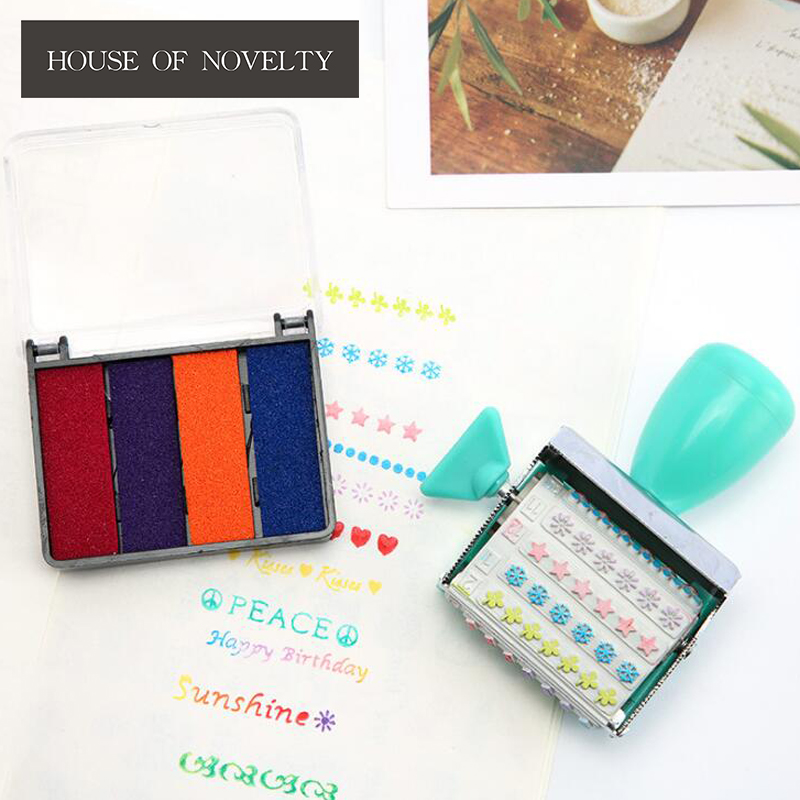 Decorate Colorful Life Style Roller Stamp With Inkpad Diary DIY Stamp Set Student Prize Promotional Gift Stationery arthur 15 inkpad diy s0051
