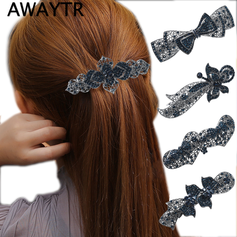 AWAYTR Hair Clips for Women Blue Crystal   Headwear   Barrette Butterfly Love Sharp Hair Accessories Jewelry For Woman Girls