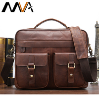 Male Briefcase Men's Genuine Leather Laptop Messenger Bag for Men Vintage Lawyer Briefcases Leather Shoulder Tote Work Bag 8001