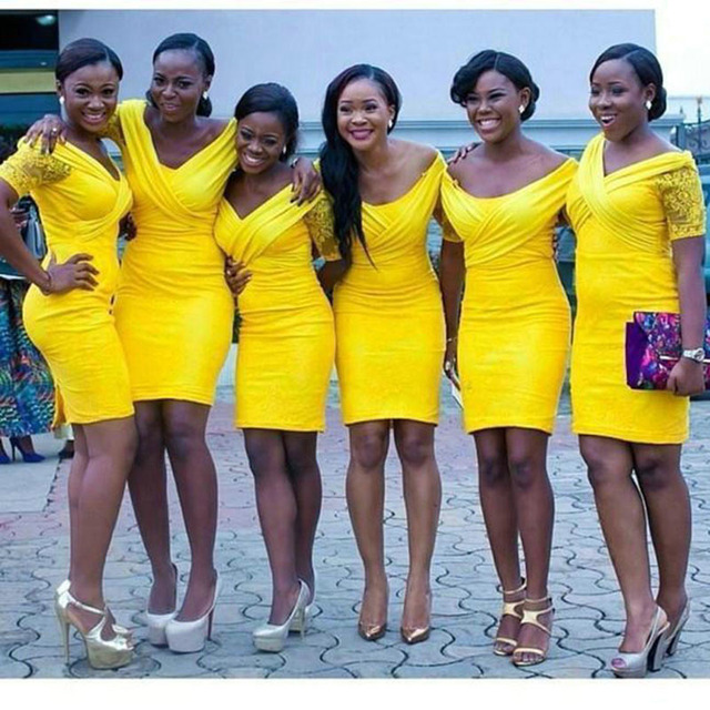Yellow Bridesmaid Dresses with Lace Sleeves