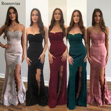 2019 Mermaid Evening Dresses Long Strapless Backless Side Split Sweep Train Lace Applique Sexy Prom Party Formal Gowns