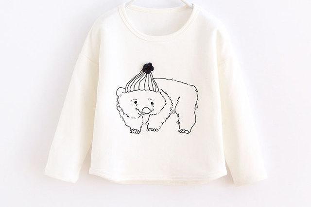 Ropa de algodón larga de lana de primavera 2016 de los niños de las muchachas Del oso breve ropa superior sin forro de sudaderas con capucha