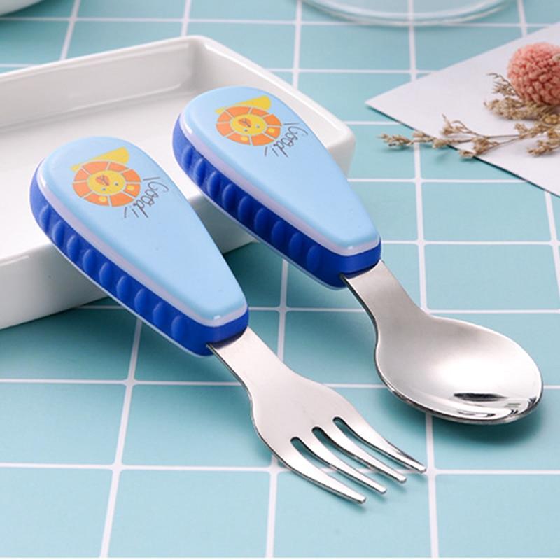 2pcs/SetCartoon Dinnerware Set Stainless Steel Cutlery Kids Children Tableware