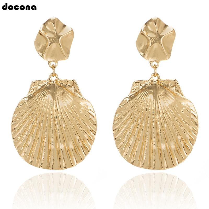 docona Punk Gold Silver Shell Pendant Earring for Women Girl Metal Geometric Drop Dangle Earrings Party Jewelry 7006