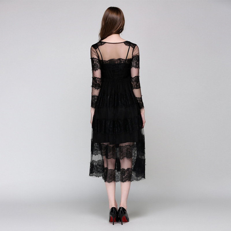 fb6408e45 High Quality Elegant European Style Runway Dress Sexy Perspective See  Through Mesh Lace Split Woman Black Party Dresses-in Dresses from Women s  Clothing on ...