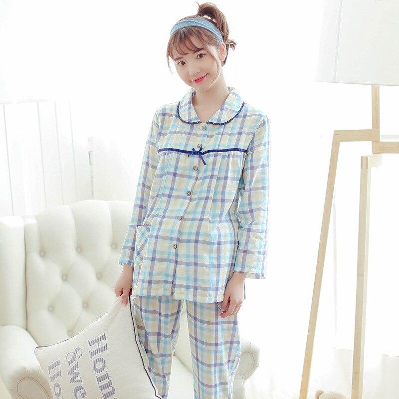 Maternity Summer Cotton Long Sleeved Plaid Nursing nightgown Sleepwear Pajamas Sets Pregnant Women Breastfeeding Pijamas Suit