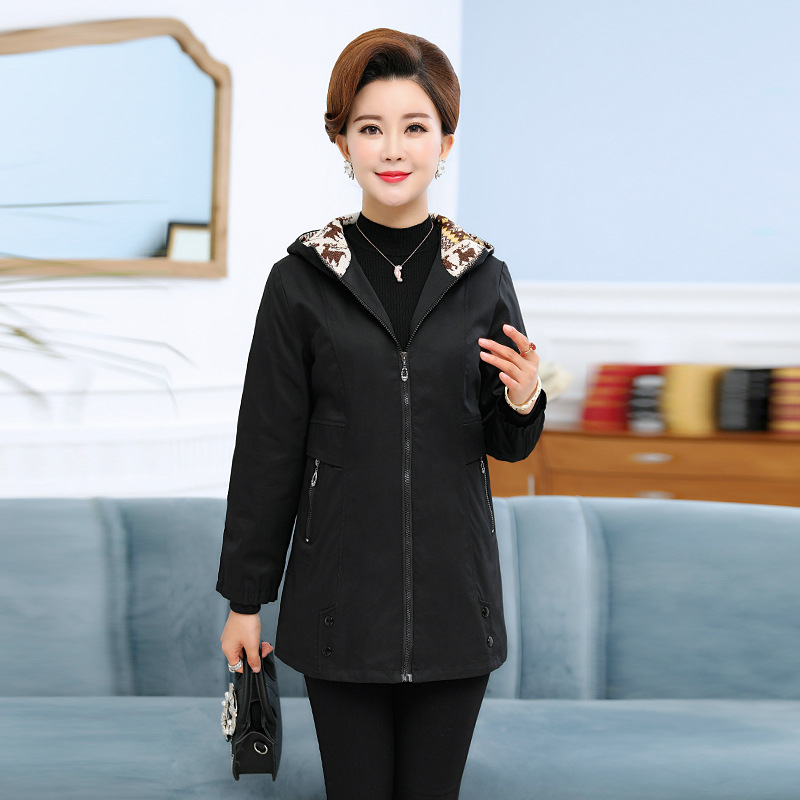 New Spring Autumn Long   Trench   Coat Women Casual Hooded Outerwear Middle-aged Long-sleeved Large Size Windbreaker Female A264