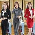 Cinza formais Profissionais Terninhos Com Jaquetas E Calças Para Mulheres De Negócios Outono Inverno Senhoras Blazers Feminino Calças Conjuntos