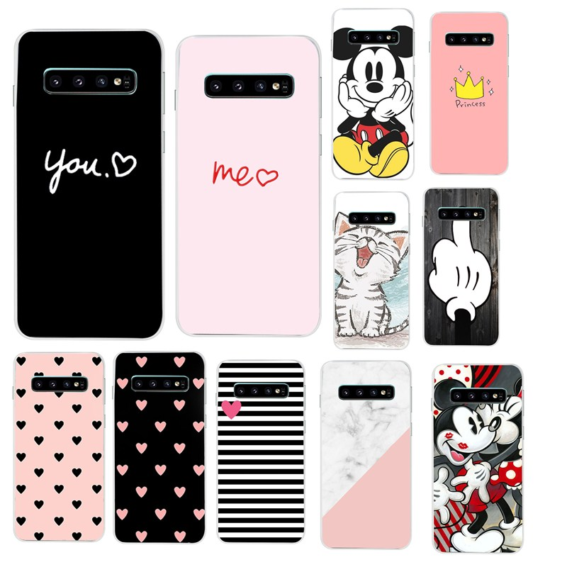 For Samsung <font><b>Galaxy</b></font> S10 Case S10Plus Case Cute Pink Silicone TPU Cover Phone S10 E Case On For Samsung S10 Plus G975F <font><b>S</b></font> 10 Case image