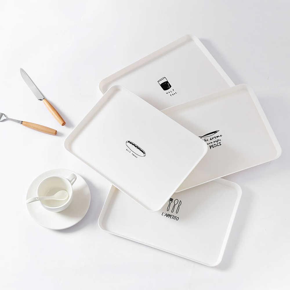 1 Pc Plastik Nordic Style Melayani Nampan Makanan Dessert Teh Nampan Sarapan Roti Nampan Piring Makanan Ringan Penyimpanan Tray Aksesoris Dapur