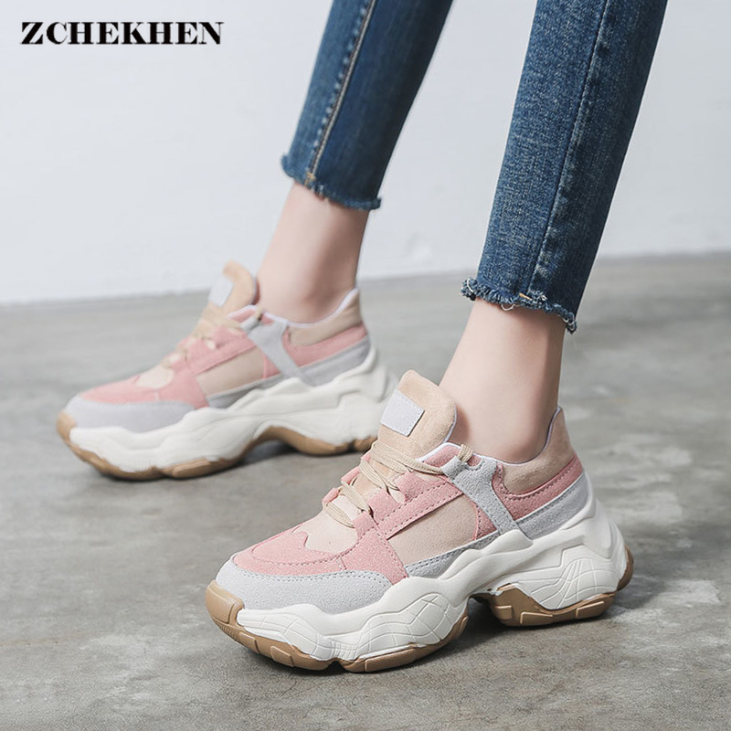 Designer Shoes Woman Wedges Platform Sneakers Lace-Up Breathable Tenis Feminino Casual Chunky Sneakers Ladies Zapatos Mujer