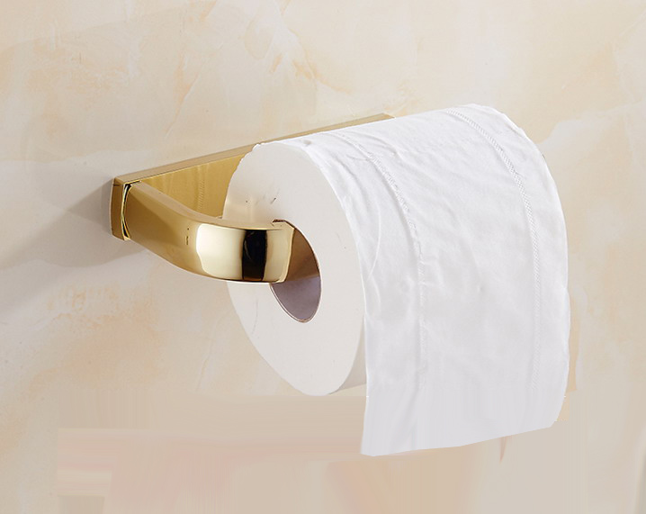 Luxury Gold Color Brass Square Wall Mounted Bathroom Toilet Paper Roll Holder Bathroom Accessory Mba848