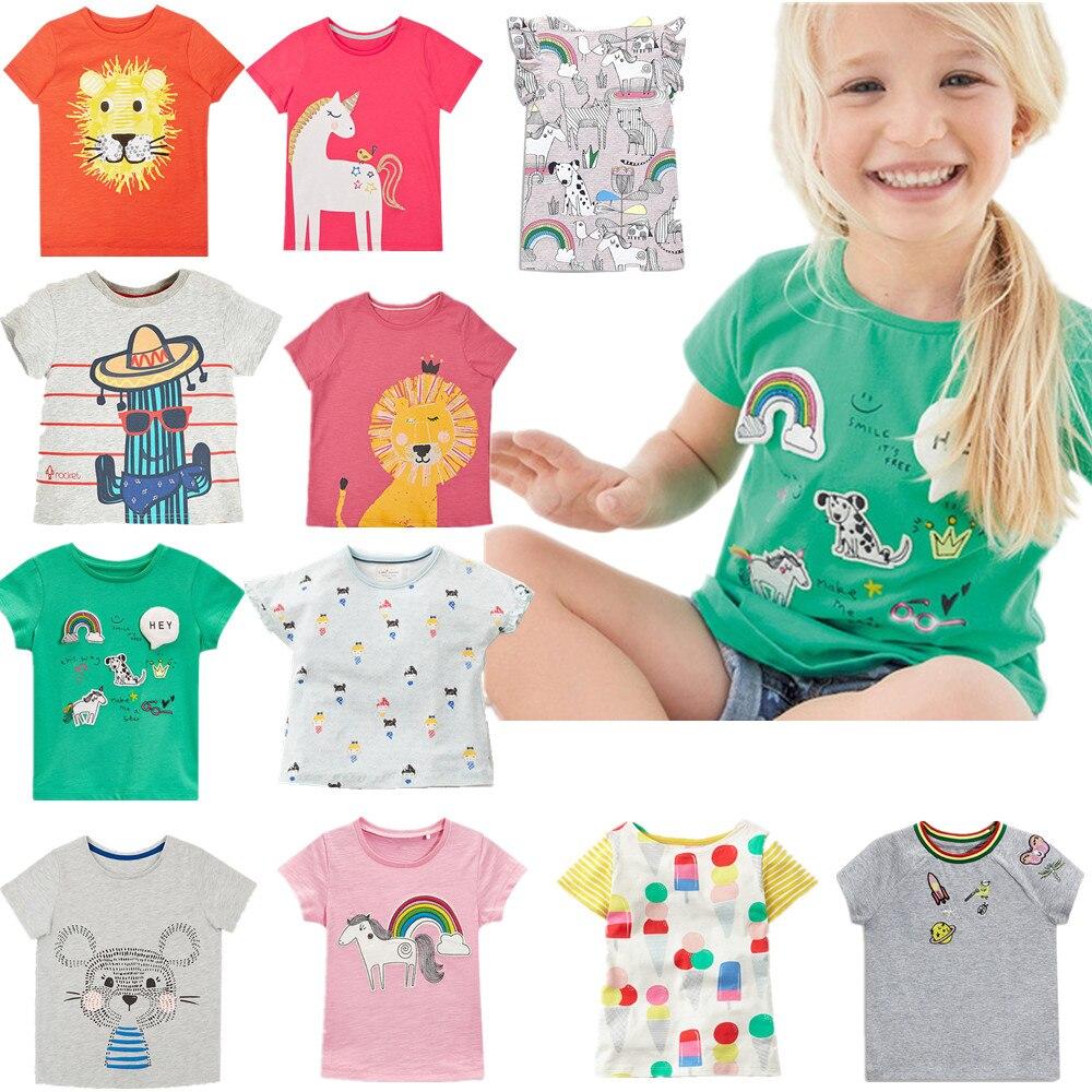 100% Little Maven Merk 2019 Zomer Korte Mouw Kinderen Meisjes T-shirt Voor Meisjes Cartoon Regenboog Paard Kinderen T-shirt Tee Tops