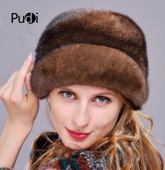 HM013 Winter hats for women Real genuine mink  fur hat  women's winter hats whole piece mink fur hats 1