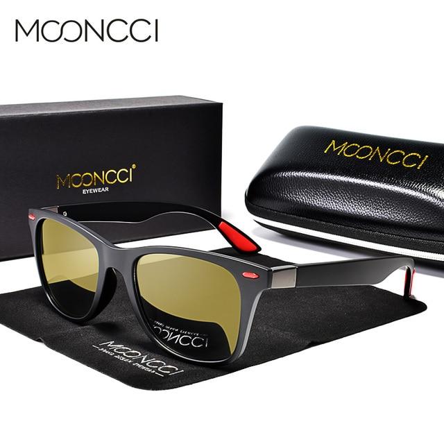 MOONCCI Square Night Vision Sunglasses Men Polarized HD Night Driving Goggles Glasses Women Yellow Driver Eyewear Unisex Oculos