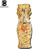 BENEWOTER European Ornament Jingdezhen Ceramic Gold Plated Wedding Marry Living Room Tabletop Floral Mini Flower Vase