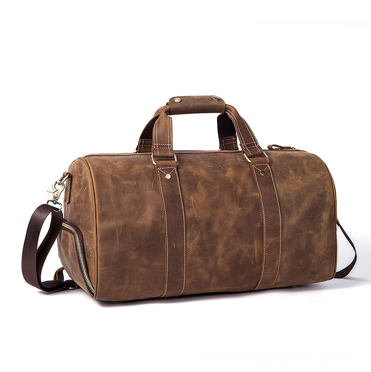 Crazy Horse Genuine Leather Men Weekend Bag Vintage Men Travel Bag Luggage Duffle Bag Large Travel Men's