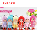 100pcs/lot Mix Colorized Doll Keychains Cute Girl Keyring Toys Lacoon bag holder Baby Dolls Key Chain Bag Pendant Chain Fobs