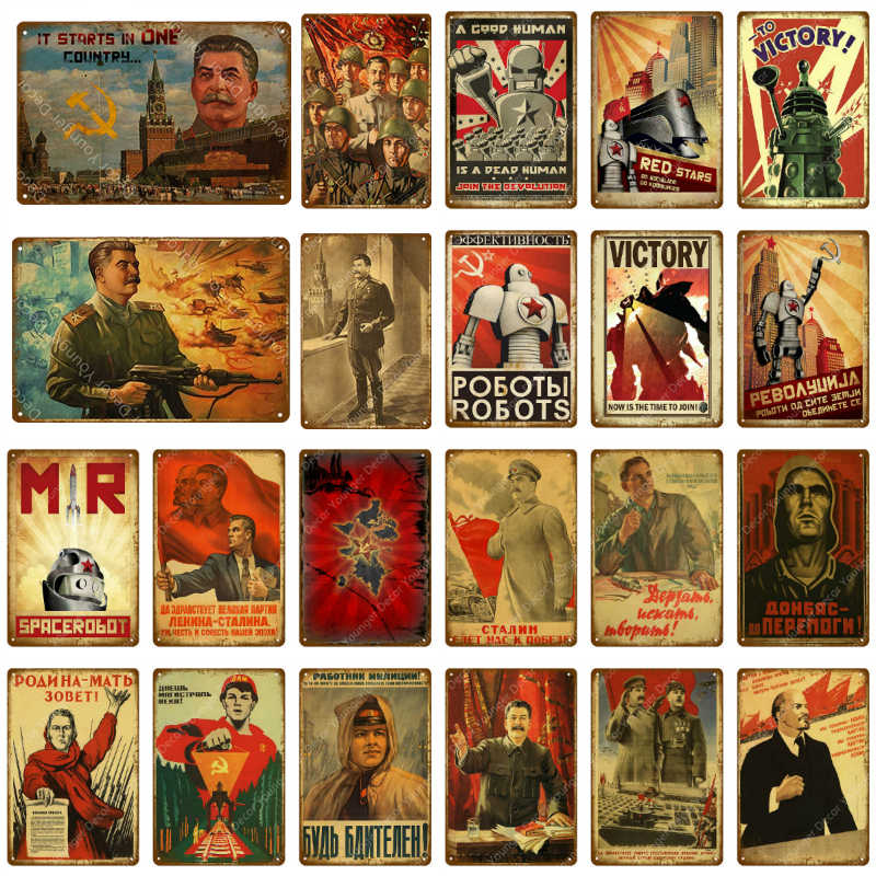 Victory Stalin USSR CCCP Metal Tin Signs Retro Wall Sticker Art Decorative Plaque Pub Bar Home Decor Mr Robot Vintage Tin Poster
