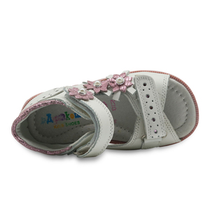 Image 5 - Apakowa/летние сандалии для девочек; Модная детская кожаная обувь принцессы на плоской подошве с цветочным принтом; Детская обувь; Поддержка арки; Европейские размеры 19 23