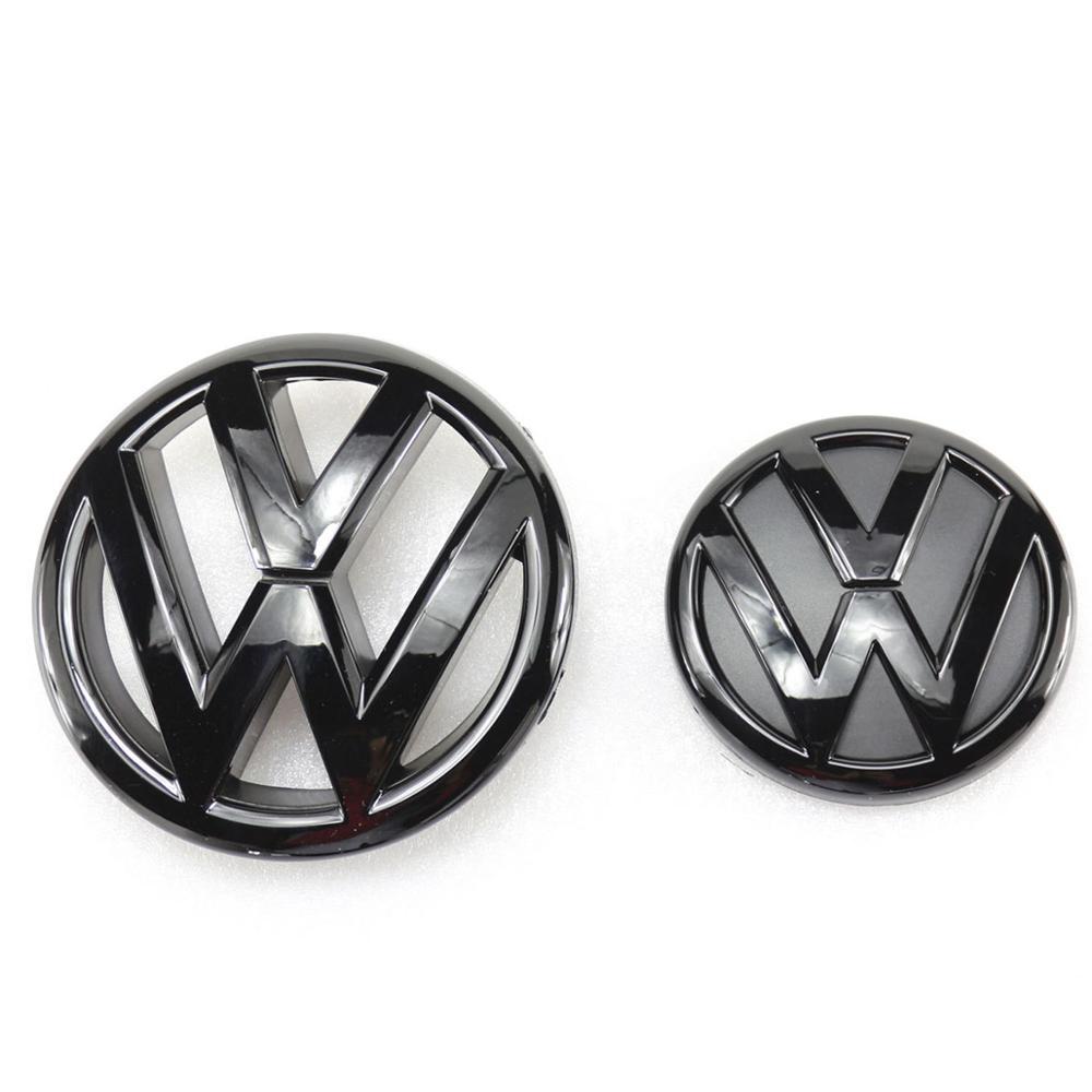 130mm/100mm Gloss Black Front Grill Rear Trunk Lid Emblem Badge Replacement Car Logo Emblem For Volkswagen Jetta MK6 2011-2014