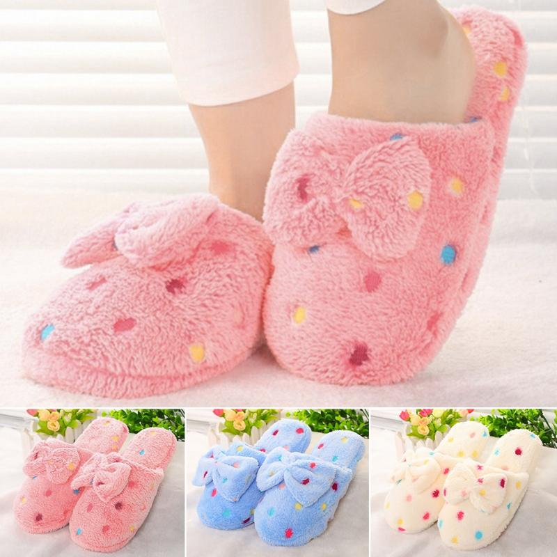 2018 Fashion Women's Cozy Bowknot Slippers Bedroom House Shoes