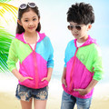 2016 Summer Fashion Children's Boys girl Kids Stitching color Clothes Travel Long sleeveJacket  Sunscreen clothing4-14T