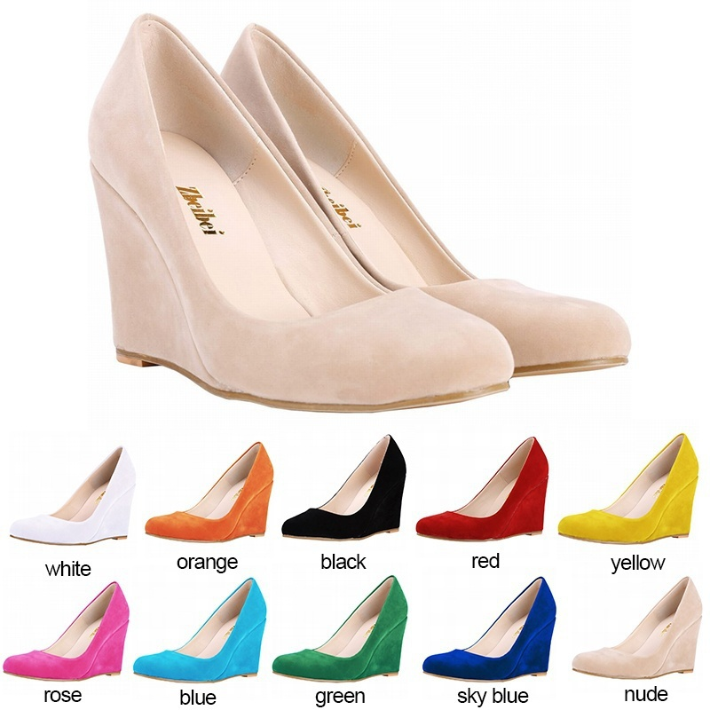 199f1cd7bfda New Women Summer Autumn Pumps Fashion Lady Comfortable Velvet Wedges  Platform Thick Heel High Heels Shoes