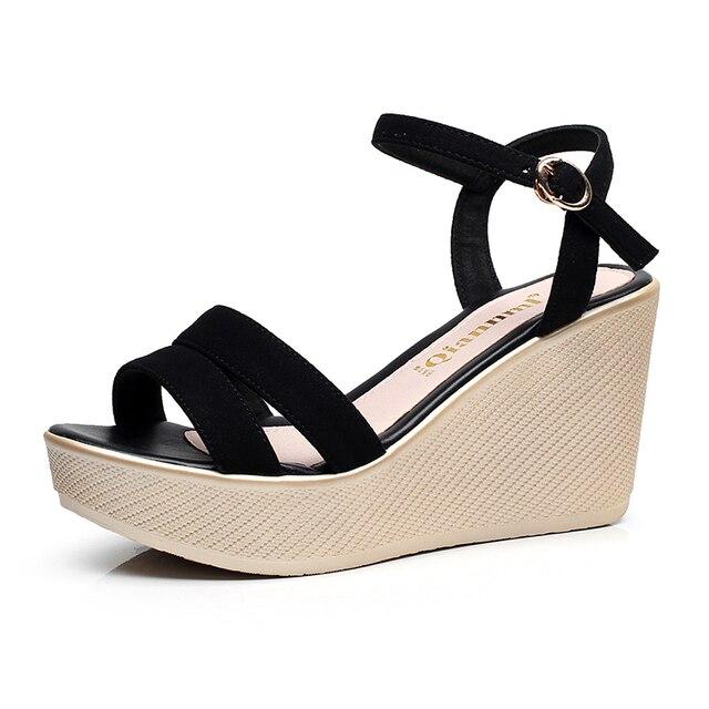 2828e2494fa Fashion Women Sandals Summer Wedges Women s Sandals Platform Genuine  Leather Open Toe High heel Women Shoes Female