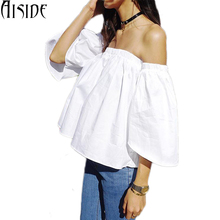 Sexy slash neck ruffles women crop top off shoulder 2017 summer tops female white blouses ladies black tee shirts cropped blusas