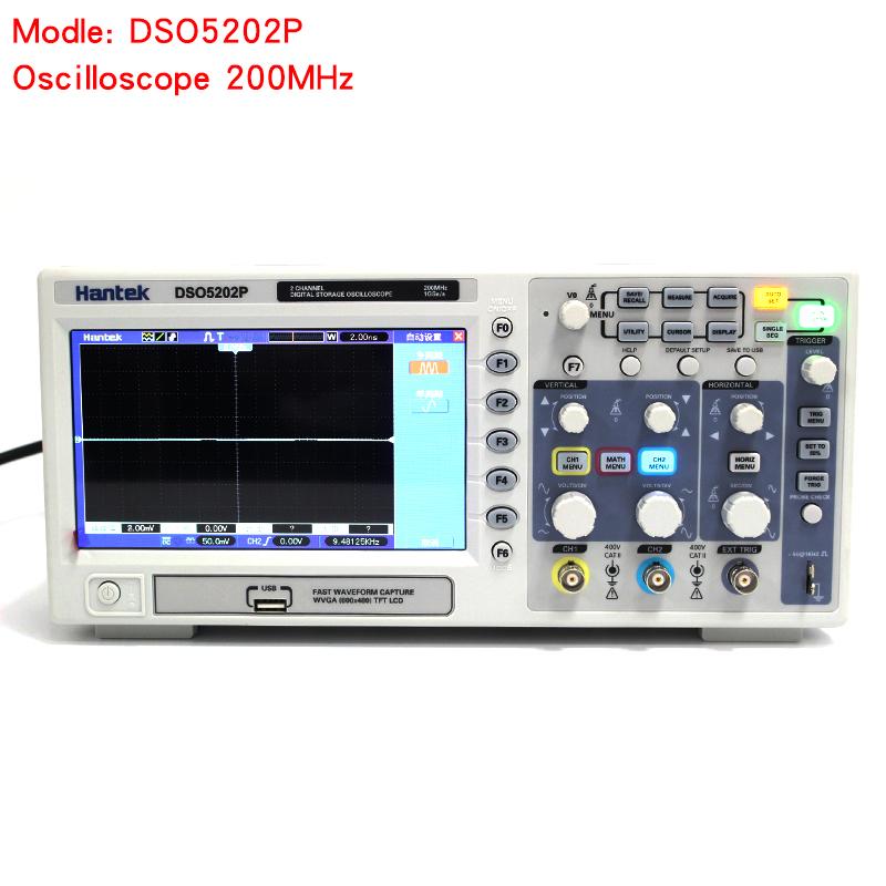 Osciloscopio Hantek DSO5202P Digital Oscilloscope USB 200MHz bandwidth 2 Channels 1GSs PC Storage LCD Record length up to 24K (1)
