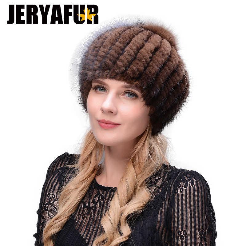 JERYAFUR Verdadeiro natural pele de vison boina chapéu da mulher do inverno de esqui chapéu bola de pele de raposa de grandes dimensões preto cap chapéu marrom