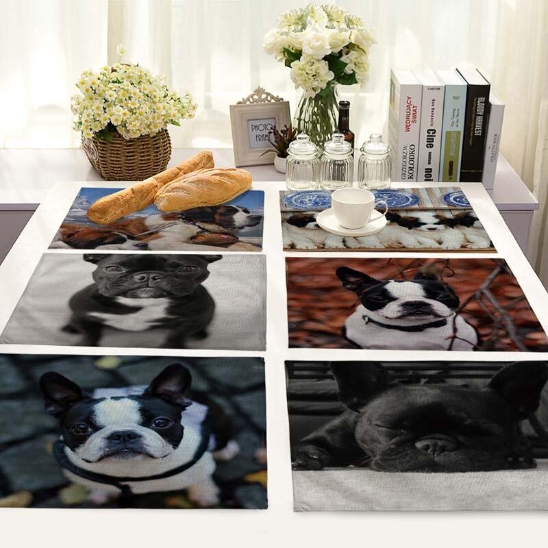 Cute Pet Dog Printed Table Napkins Dinner Napkins Dish Towel Tea Coffee Animal Dog Table Decor wedding Mats 42*32cm MA0099