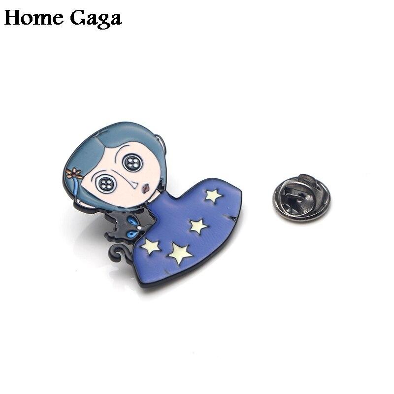 Homegaga Neil Gaiman Coraline cartoon Metal Enamel pins Trendy para backpack shirt clothes brooches badges for men women D1498 in Badges from Home Garden