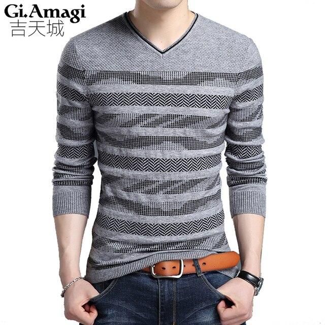 Mens Striped Sweater 2017 New Spring Autumn Men s Sweater Slim Youth V-neck Men s  Pullover 2202ff6497