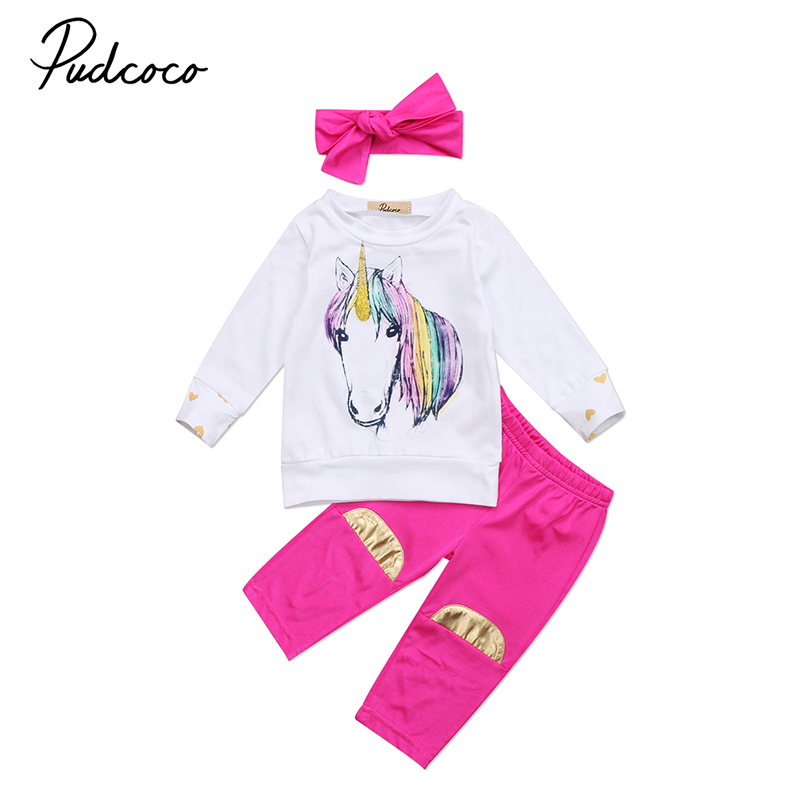 2017 Newborn Baby Unicorn Clothes Long Sleeve Gold Heart Pullover Tops +Rose Red Pant Legging Headband 3PCS Outfit Kids Clothing 2017 autumn newborn baby girl clothes long sleeve cotton romper bodysuit tops pant headband outfit 4pcs children clothing set