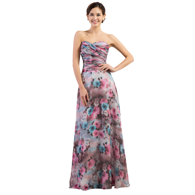 16b6964b7257 Flowing Beautiful GK Sweetheart Long Flower Pattern Floral Print Evening  Dresses Ruched Elegant Formal Gown Party Chiffon CL7509