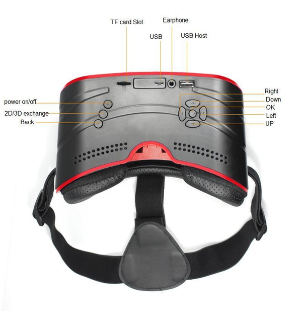 HOT!!!All in one VR headset works without smartphone:HD IPS Screen,720*1280 Resolution,Wifi and Bluetooth 4.0,Support USB 2.0 4