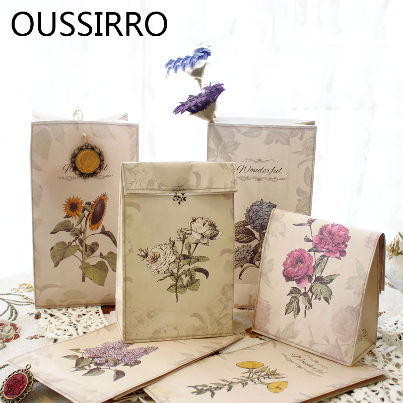 6PCS/Lot Retro Flora Kraft Paper Gift Bag Holder Wedding Decoration Party Favour Candy Food Packaging Bags Bakery Baking Package